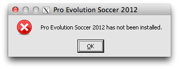 pro evolution soccer has not been installed